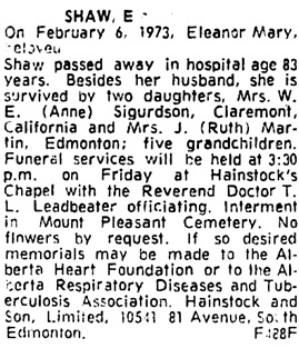 Edmonton Journal, February 7, 1973, page 42, column 7.