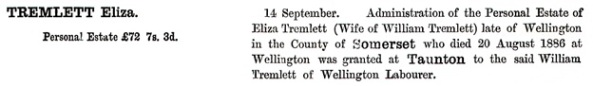 Ancestry.com. England & Wales, National Probate Calendar (Index of Wills and Administrations), 1858-1966, 1973-1995 [database on-line]. Provo, UT, USA: Ancestry.com Operations, Inc., 2010. Name: Eliza Tremlett; Death Date: 20 Aug 1886; Death Place: Somerset, England; Probate Date: 14 Sep 1886; Registry: Taunton.