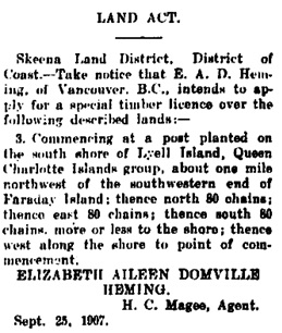 The North Coast, Port Simpson (British Columbia), December 7, 1907, page 4; https://open.library.ubc.ca/collections/bcnewspapers/norcoa/items/1.0311670#p3z-2r0f: [page includes 23 applications for timber licence].