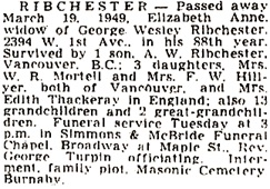 Vancouver Province, March 21, 1949, page 21; Vancouver Sun, March 21, 1949, page 19.