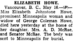 Star Tribune (Minneapolis, Minnesota), May 17, 1934, page 4, column 2.