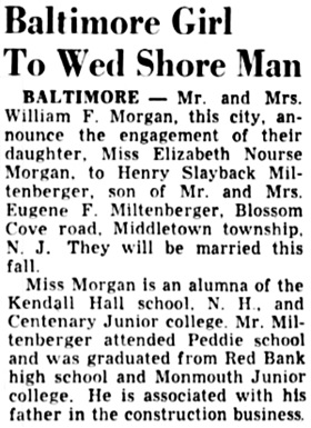 Asbury Park Press (Asbury Park, New Jersey); August 29, 1951, page 8, column 6.
