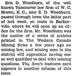 Cariboo Observer, April 15, 1933, page 1, column 1; http://www.quesnelmuseum.ca/COA/1933/19330415_Cariboo%20Observer.pdf.