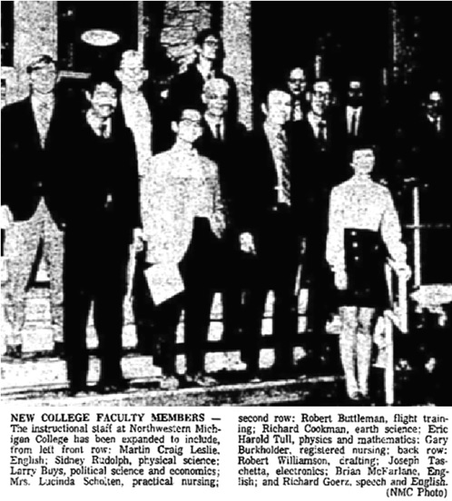 Traverse City Record-Eagle, Traverse City, Michigan, September 22, 1970, page 8, columns 4-6. [Eric Harold Tull in second row, far right (with glasses).]