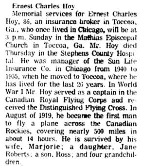 Chicago Tribune, April 24, 1982, page 51, column 2.