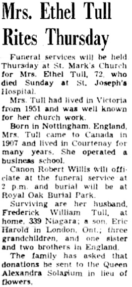 Victoria Daily Colonist, August 14, 1957, page 23, column 6; https://archive.org/stream/dailycolonist0857uvic_10#page/n22/mode/1up.