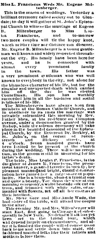 St. Louis Post-Dispatch (St. Louis, Missouri), October 22, 1879, page 1, column 8.