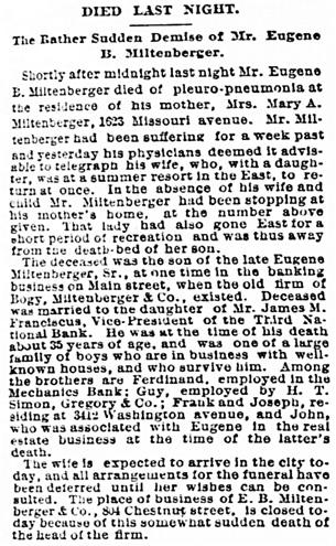 St. Louis Post-Dispatch (St. Louis, Missouri), July 6, 1887, page 5, column 1.