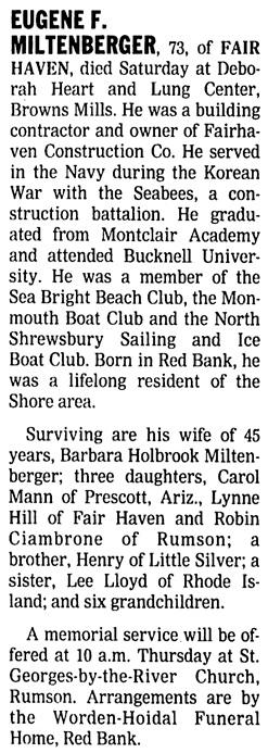 Asbury Park Press (Asbury Park, New Jersey), May 14, 2001, page 10, column 5.