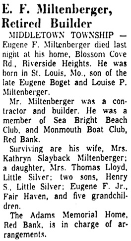 Asbury Park Press (Asbury Park, New Jersey), October 24, 1960, page 2, column 4.