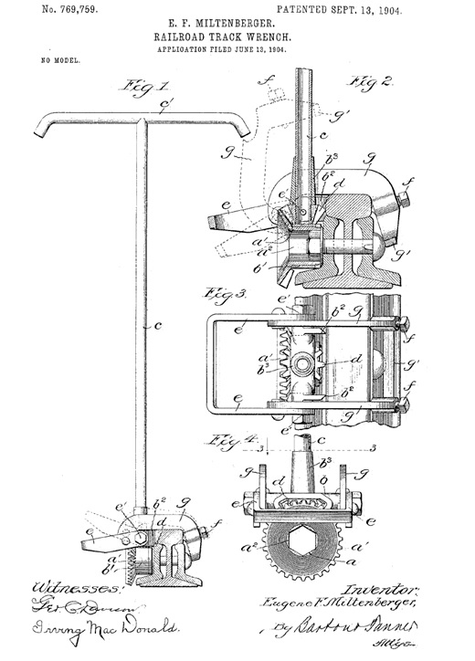 Eugene Franciscus Miltenberger, of St. Louis, Missouri, Railroad Track Wrench, United States Patent Number 769,759; patented September 13, 1904; https://patentimages.storage.googleapis.com/a9/b4/f4/d663aa10ac5094/US769759.pdf.