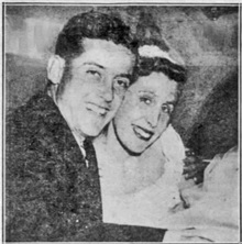 """Eugene Miltenberger Jr. and the former Barbara Jeanne Holbrook leave church after wedding,"" Daily News (New York), May 13, 1956, page C5, columns 1-2."