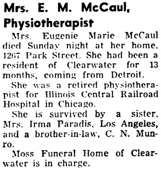 Tampa Bay Times (St. Petersburg, Florida), January 15, 1952, page 10, column 1.