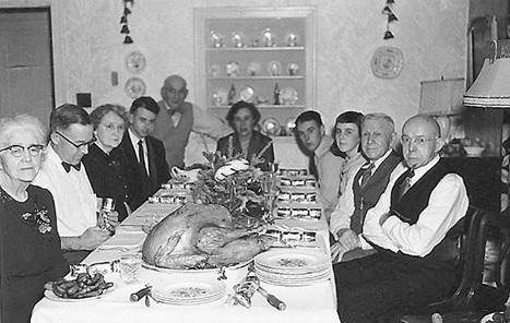 Eva and Henry Tremlett at a dinner party in 1953, probably in Burnaby, British Columbia. L-R: Eva Tremlett, John Hall, Joan Hall, Peter Hall, Mac McLoskey, Agnes McLoskey, Jim McLoskey, Marguerite Hall, Henry Tremlett, John Hall sr. Photograph courtesy of Gwyneth MacKenzie.