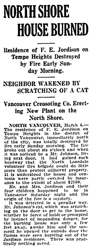 Vancouver Daily World, March 6, 1916, page 8, column 1.