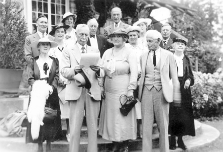 First picnic of Happier Old Age Club at Stanley Park Pavilion, July 9, 1938, Vancouver City Archives, Cl P18.2; https://searcharchives.vancouver.ca/first-picnic-of-happier-old-age-club-at-stanley-park-pavilion. People identified (left to right): Back row: C.W. Pulham, Mrs. W.B. Simmons, Mrs. Ferguson, Fred Cracknell, Mrs. W.R. Mortell, C. B. Fowler, Mrs. Sturday, Fred Davis. Front row: Mrs. M. Nice, Charles Hill-Tout, Mrs. M.E. Smith, George W. Ribchester, Mrs. Ribchester.