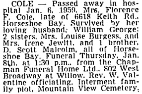 Vancouver Sun, January 7, 1959, page 34, column 2.