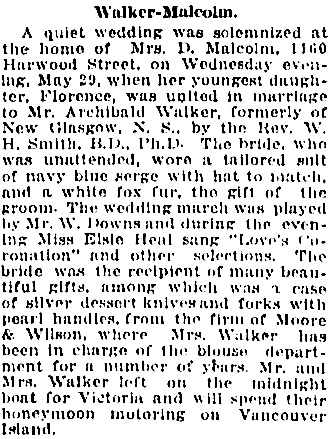 Vancouver Daily World, June 1, 1918, page 7, column 2.