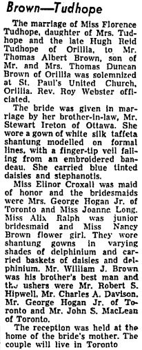 Toronto Globe and Mail, July 15, 1953, page 10.