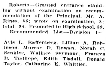 """Results of High School Examinations,"" Victoria Daily Colonist, July 25, 1919, page 14, column 4 [extracts]; http://archive.org/stream/dailycolonist61y189uvic#page/n13/mode/1up."