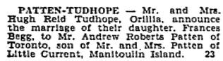 Toronto Globe, July 23, 1929; page 14, column 1.