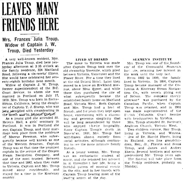 Victoria Daily Colonist, August 20, 1938, page 4, column 5; http://archive.org/stream/dailycolonist0838uvic_67#page/n3/mode/1up.