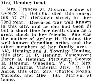 Toronto Globe, February 28, 1912; page 2, columns 2-3.