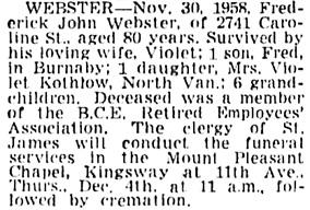 Vancouver Sun, December 3, 1958, page 34, column 4.
