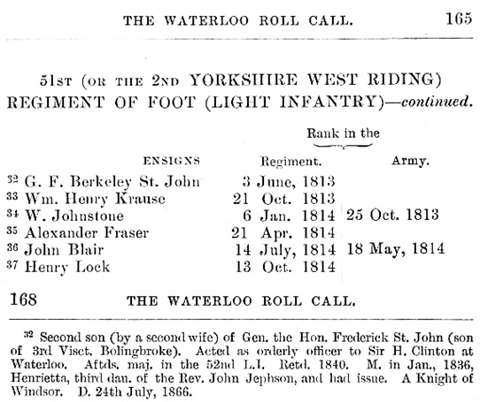 The Waterloo Roll Call; with Biographical Notes and Anecdotes, by Charles Dalton; second edition; London, Eyre and Spottiswoode, 1904, pages 165 and 168; https://archive.org/stream/waterloorollcall00daltrich#page/165/mode/1up; https://archive.org/stream/waterloorollcall00daltrich#page/168/mode/1up.