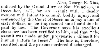 Sacramento Daily Union, Volume 14, Number 2175, March 17, 1858, page 2, column 1; https://cdnc.ucr.edu/cgi-bin/cdnc?a=d&d=SDU18580317.2.5&e=-------en--20--1--txt-txIN--------1.