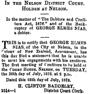 Nelson Evening Mail (Nelson, New Zealand), Volume XIII, Issue 179, July 26, 1878, page 2, column 3; https://paperspast.natlib.govt.nz/newspapers/NEM18780726.2.11.3.