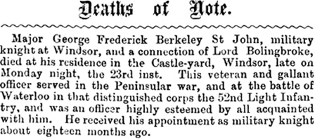 Deaths of Note; Exeter and Plymouth Gazette (Exeter, England), July 27, 1866, Vol. LXXVIII, Issue 3890, page 2.