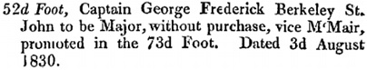 The London Gazette, Publication date: August 3, 1830; Issue 18714, page 1658, column 2; https://www.thegazette.co.uk/London/issue/18714/page/1658.
