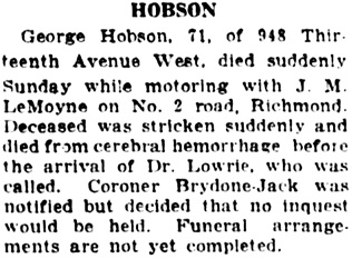 Vancouver Daily World, October 15, 1923, page 9, column 7.