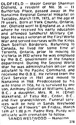The Times (Nanaimo), March 13, 1975, page 20, column 8.