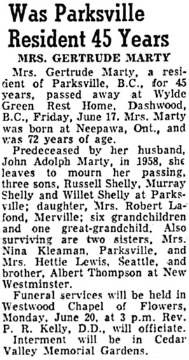 Nanaimo Daily News, June 18, 1960, page 5, column 4 [birthplace of Neepawa is in Manitoba, not Ontario].