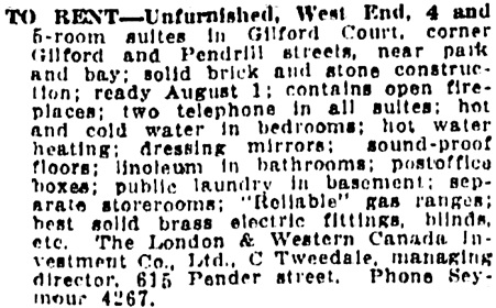 Vancouver Daily World, July 9, 1912, page 18, column 6.