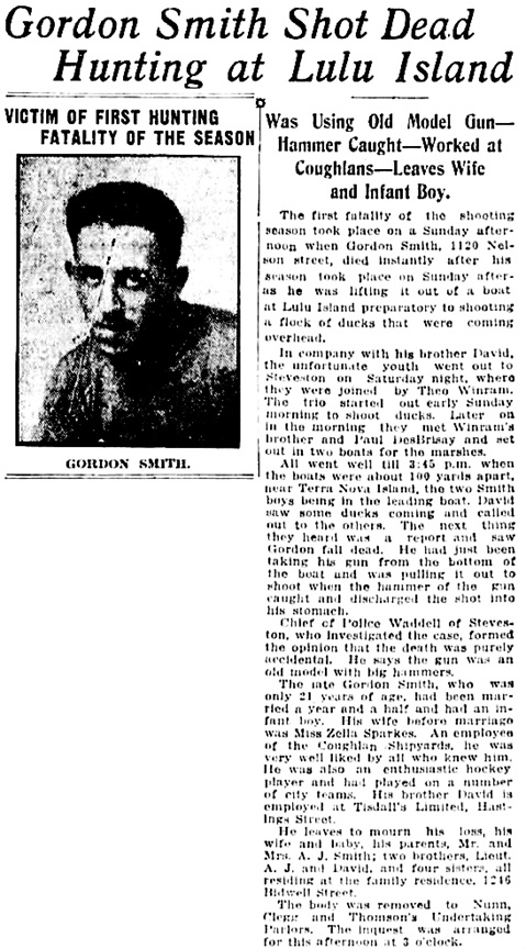 Vancouver Daily World, 27 Oct 1919, page 19, columns 6-7.