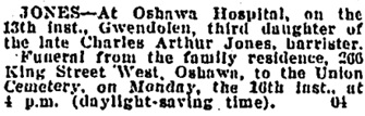 Toronto Globe, August 16, 1926, page 10, column 2.
