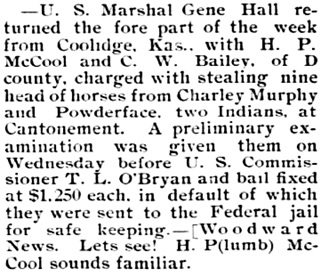 The Western Star (Coldwater, Kansas), September 25, 1897, page 4, column 3.
