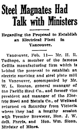 Nanaimo Daily News (Nanaimo, British Columbia, Canada), February 11, 1918, page 1, column 5 [portion of article].
