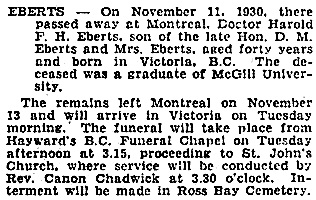 Victoria Times, November 17, 1930, page 13.