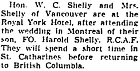 Toronto Globe and Mail, September 30, 1943, page 10, column 5.