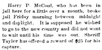 Echo-Advocate (Coldwater, Kansas), April 16, 1892, page 4, column 2.