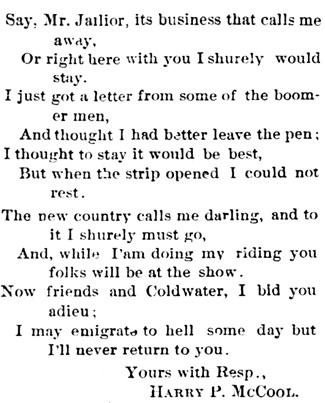 Echo-Advocate (Coldwater, Kansas), 23 Apr 1892, page 4, column 2.