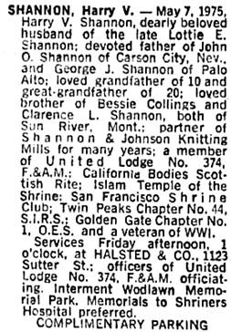 The San Francisco Examiner, May 8, 1975, page 36, column 3.