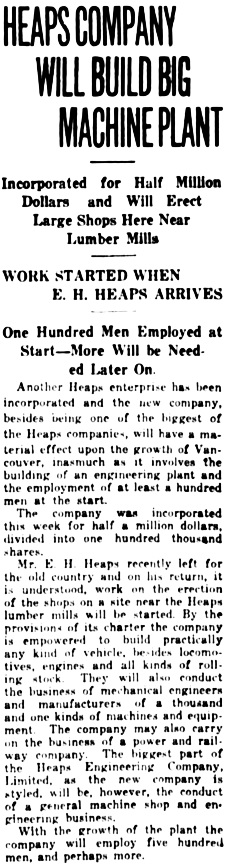 Vancouver Daily World, November 30, 1911, page 1, column 3.