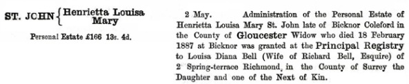 Ancestry.com. England & Wales, National Probate Calendar (Index of Wills and Administrations), 1858-1966, 1973-1995 [database on-line]. Provo, UT, USA: Ancestry.com Operations, Inc., 2010. Name: Henrietta Louisa St . John; [Mary St . John]; Death Date: 18 Feb 1890 [sic: 1887]; Death Place: Gloucestershire, England; Probate Date: 2 May 1890; Registry: Principal Registry.