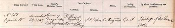 Ancestry.com. Victoria, Australia, St. Peter's Eastern Hill, Baptisms, 1848-1915 [database on-line]. Provo, UT, USA: Ancestry.com Operations, Inc., 2014. Description: 1848-1859; Reference Number: 1/1. Name: Henry Augustus Bolingbroke St John; Birth Date: 29 Dec 1847; Baptism Date: 15 Apr 1849; Baptism Place: Melbourne, Bourke, Victoria, Australia; Parish: St. Peter's Eastern Hill; Father: George Frederick Berkley St John; Mother: Henrietta Louisa Mary St John.