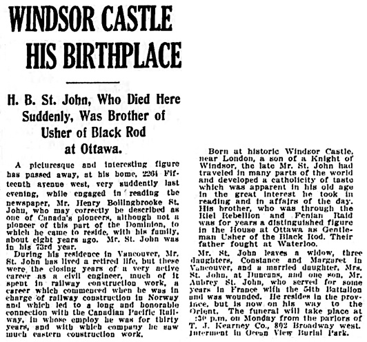 Vancouver Daily World, 19 Feb 1921, page 1, column 4. [Note: the references to Henry's birth at Windsor Castle are incorrect. His father was in the Military Knights of Windsor at Windsor Castle in the mid-1860s, many years after Henry's birth in Australia in 1847.]